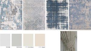 Soru 5: Mavi Krem Koltuk Takımı İle Uyumlu Duvar Boyası Halı Perde