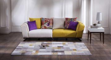 Soru 6: Salon Dekorayonu İçin Hardal Sarısı Koltuk İle Uyumlu Halı ve Perde Tavsiyesi